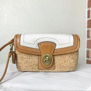 COACH Hamptons Leather & Straw Clutch Wristlet